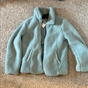 Debby Teddy Faux Shearling Zip Jacket NWT